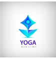 Stylized human yoga shape Logo Man sitting Lotus vector image