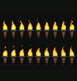 torch fire animation burning cresset flames on vector image