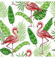tropical pattern with pink flamingo vector image vector image