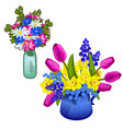 two bouquet of flowers in glass and ceramic vase vector image