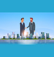 two businessmen shaking hands partners successful vector image vector image