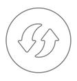 Two circular arrows line icon vector image