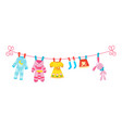 various items baclothes on rope isolated vector image vector image