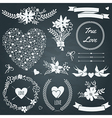 Wedding set with bouquets birds hearts arrows