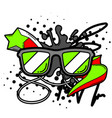 with cartoon sunglasses vector image