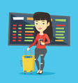 woman with suitcase and ticket at the airport vector image
