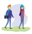 young people couple characters vector image vector image