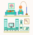 Living room with furniture Flat style vector image