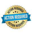 action required round isolated gold badge vector image vector image