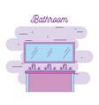 bathroom three sink furniture and mirror vector image vector image