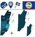 Belize map with named divisions vector image vector image