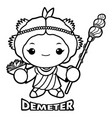 black and white agricultural goddess demeter vector image