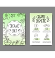 Brochure with cosmetic bottles Organic cosmetics vector image vector image