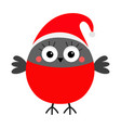 bullfinch winter red feather bird wearing santa vector image
