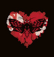 butterfly dead head on abstract red heart vector image vector image
