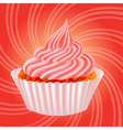 cake with cream on a pink background vector image vector image