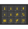 Chess figures and board icons vector image vector image
