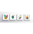 christmas new year folk nordic art animal card set vector image vector image