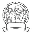 coloring book of funny chemist emblem vector image vector image