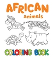 Coloring book with african animals vector image