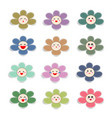cute paper flowers with smiley face vector image