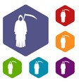 death with scythe icons set hexagon vector image vector image