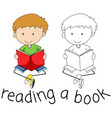 doodle boy reading a book vector image vector image