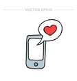 doodle icon cellphone with love message vector image vector image