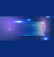 glowing man figure on futuristic background vector image vector image