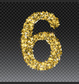 gold glittering number six shining golden vector image vector image
