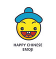 happy chinese emoji line icon sign vector image vector image