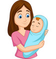 happy mother carrying newborn bawrapped in blue vector image vector image