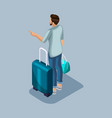 isometric young man at the airport is vector image