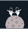 love story of astronauts vector image vector image