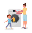 mother with son doing laundry characters child vector image