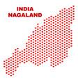nagaland state map - mosaic of heart hearts vector image vector image