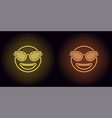 neon stylish emoji in yellow and orange color vector image vector image