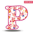 p letter with pig pattern vector image