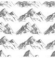 pencil sketched mountains seamless pattern vector image
