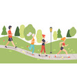 people running and jogging in park physical vector image vector image