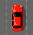red hot car on the road travel or race concept vector image vector image