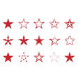 red star set vector image vector image