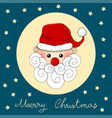 santa claus on indigo blue christmas greeting card vector image