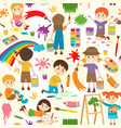 seamless pattern with drawing elements vector image vector image