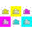 set piece cake icon isolated on color vector image vector image