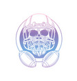 sketch skull american football player vector image vector image
