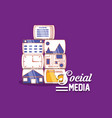 social media applications technology digital vector image vector image