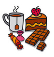 tea and dessert vector image vector image