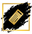 ticket simple sign golden icon at black vector image vector image