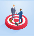 two businessmen shake hands on target vector image vector image